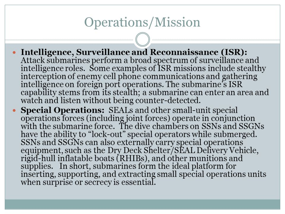 Operations/Mission