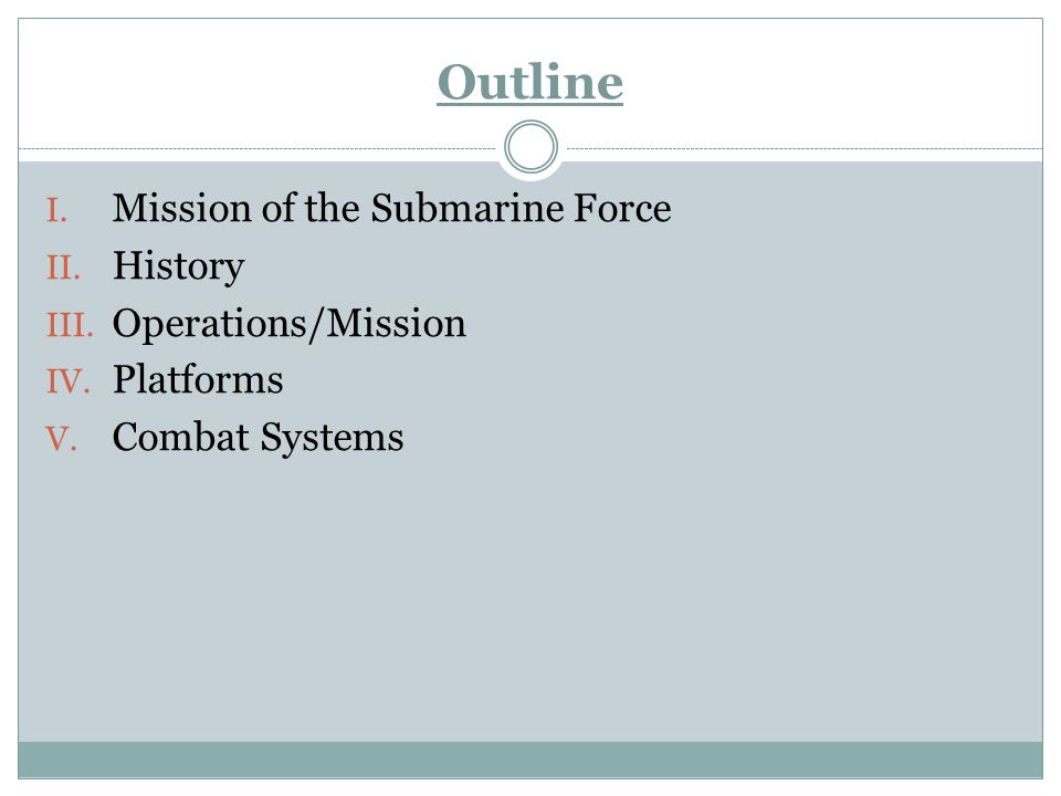 Outline Mission of the Submarine Force History Operations/Mission