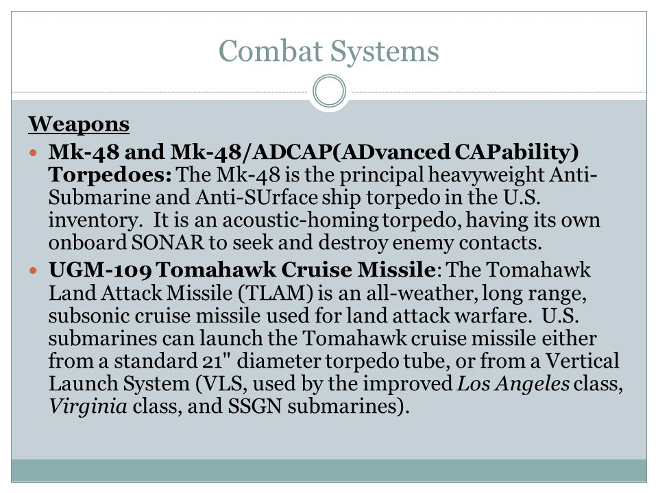 Combat Systems Weapons