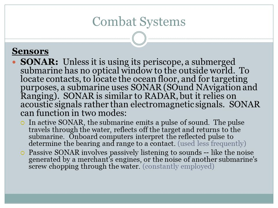 Combat Systems Sensors