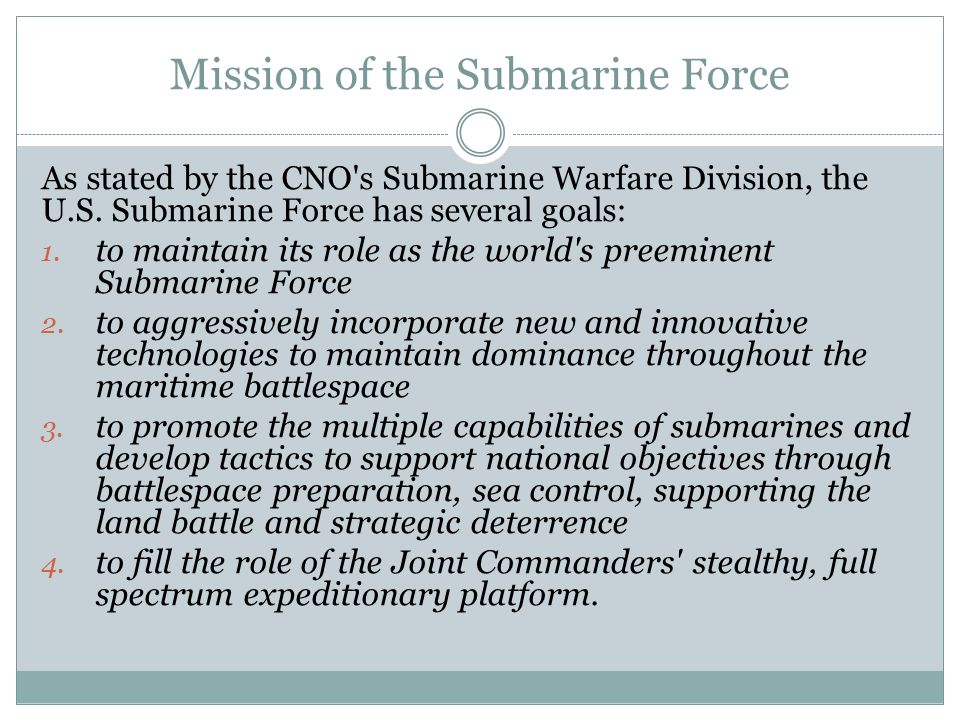 Mission of the Submarine Force