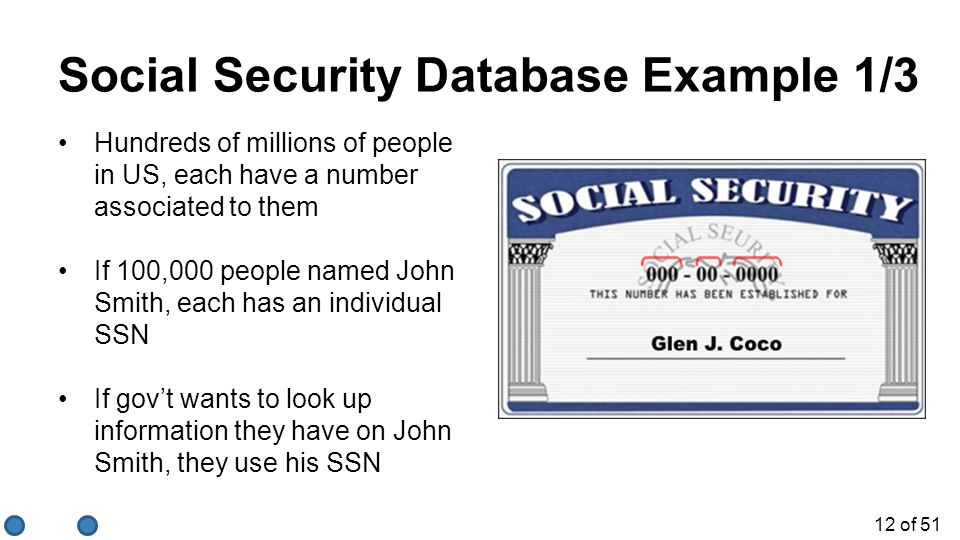 Social Security Database Example 1/3