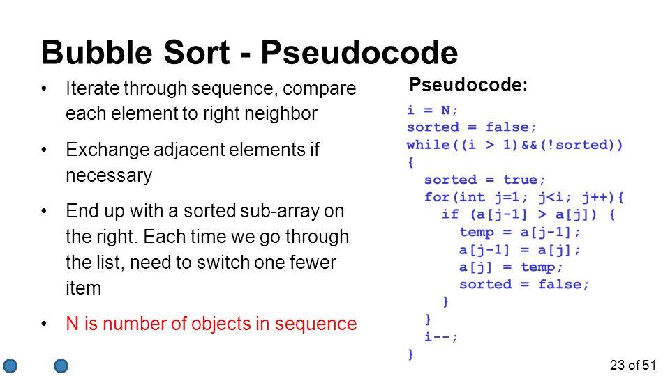 Bubble Sort - Pseudocode