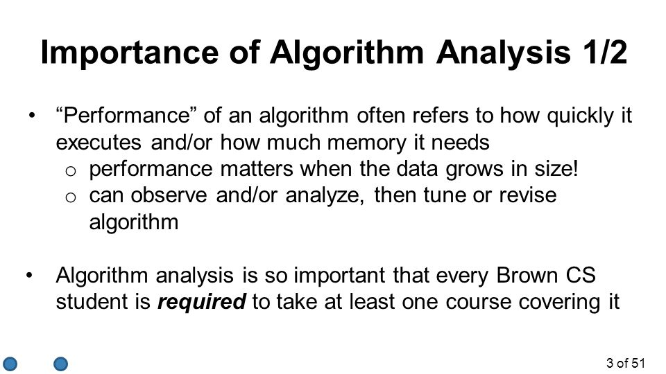 Importance of Algorithm Analysis 1/2