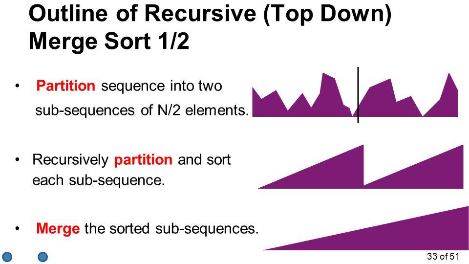 Outline of Recursive (Top Down) Merge Sort 1/2
