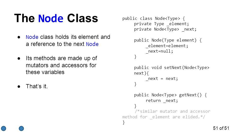 The Node Class public class Node<Type> { private Type _element; private Node<Type> _next; public Node(Type element) {