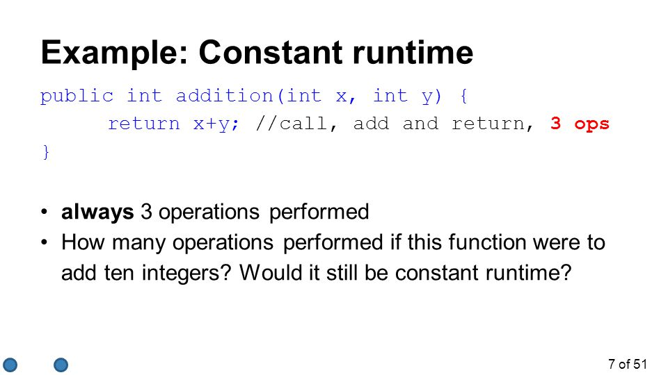 Example: Constant runtime