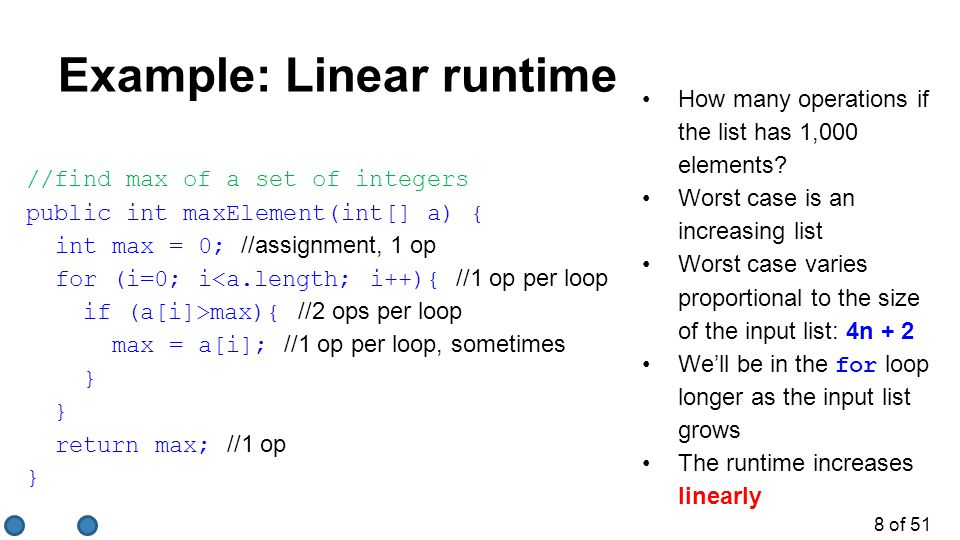 Example: Linear runtime