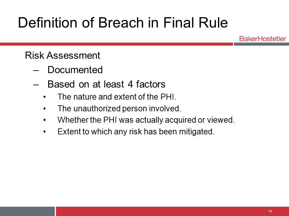 Definition of Breach in Final Rule