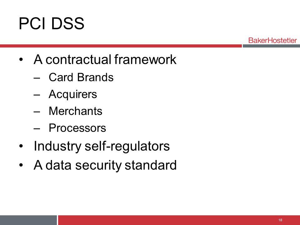 PCI DSS A contractual framework Industry self-regulators