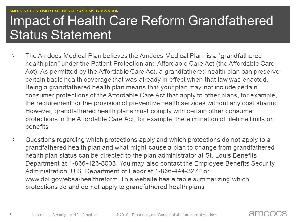 Impact of Health Care Reform Grandfathered Status Statement