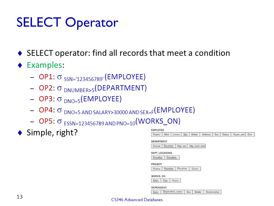 SELECT Operator SELECT operator: find all records that meet a condition. Examples: OP1: s SSN= 123456789 (EMPLOYEE)