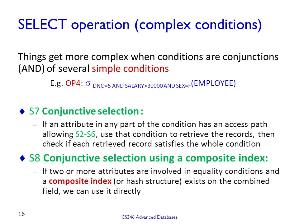 SELECT operation (complex conditions)