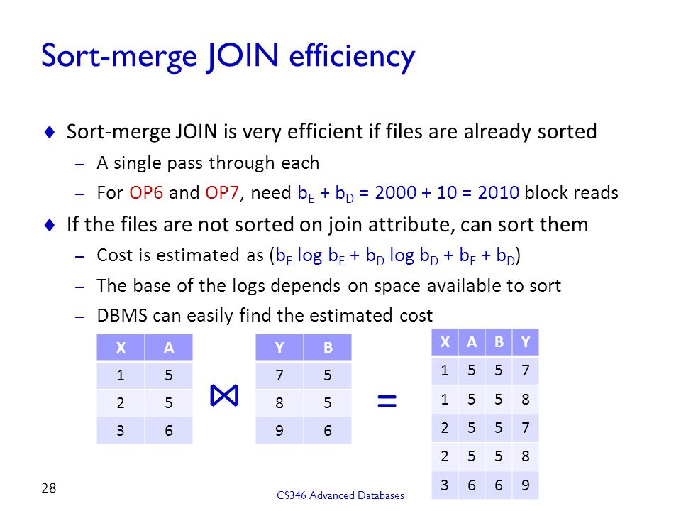Sort-merge JOIN efficiency