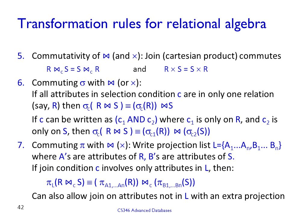 Transformation rules for relational algebra