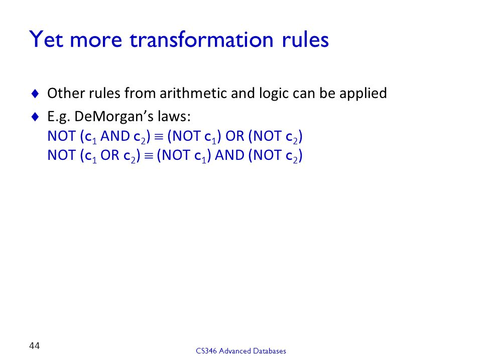 Yet more transformation rules