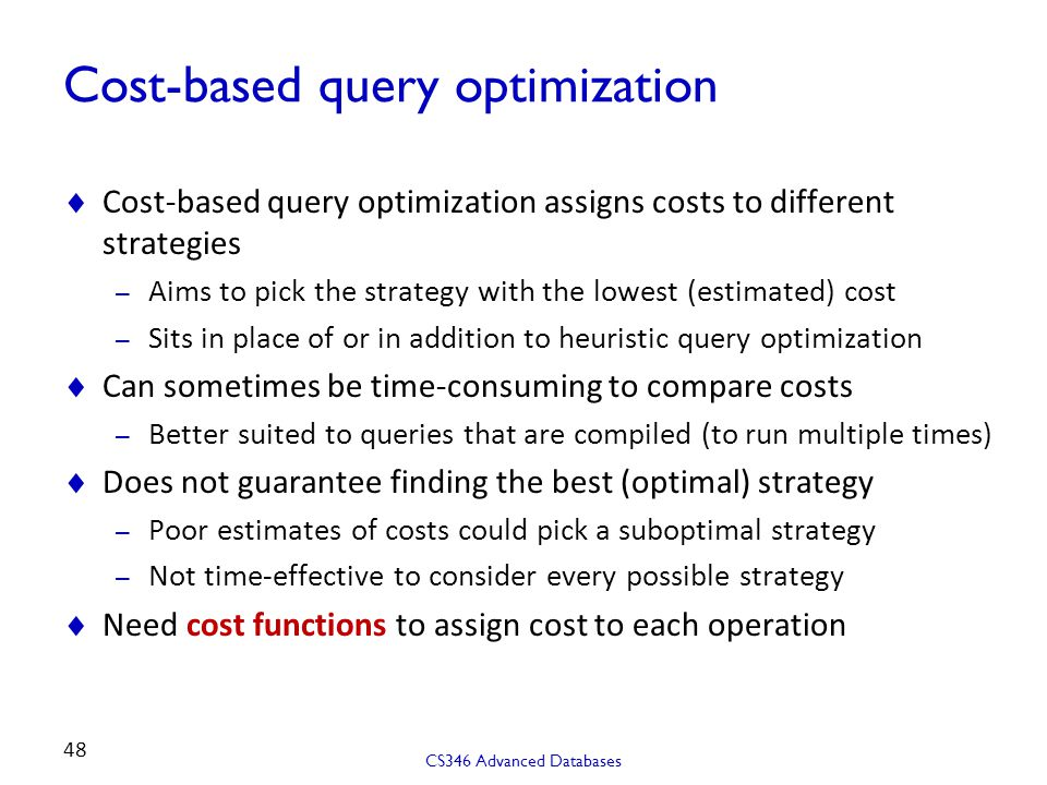 Cost-based query optimization