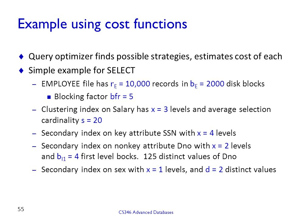 Example using cost functions