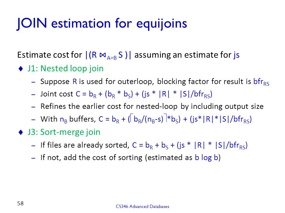JOIN estimation for equijoins