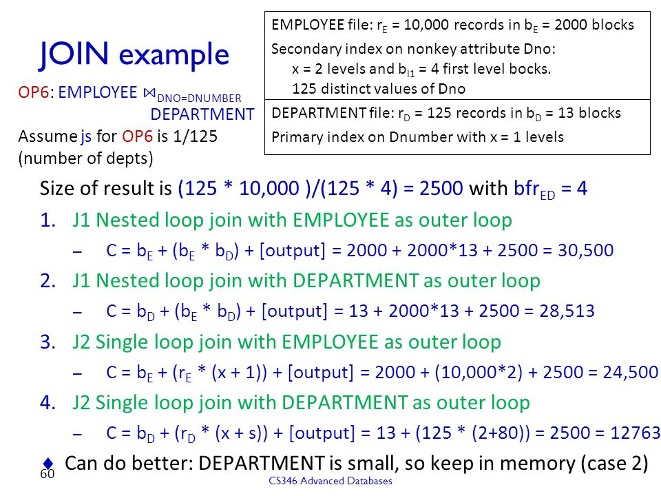 EMPLOYEE file: rE = 10,000 records in bE = 2000 blocks
