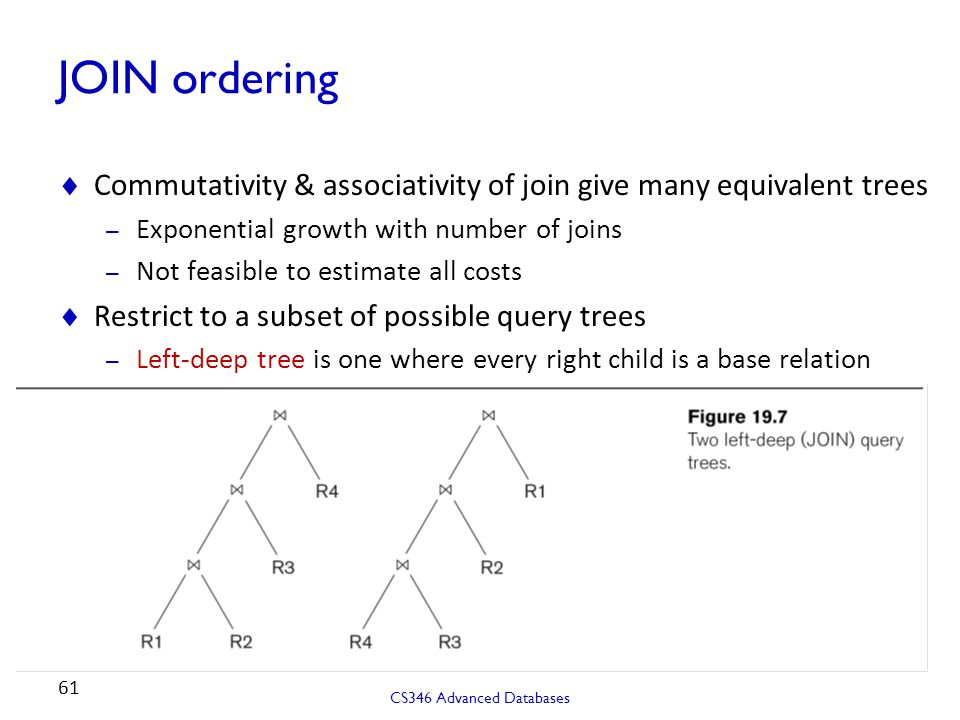 JOIN ordering Commutativity & associativity of join give many equivalent trees. Exponential growth with number of joins.