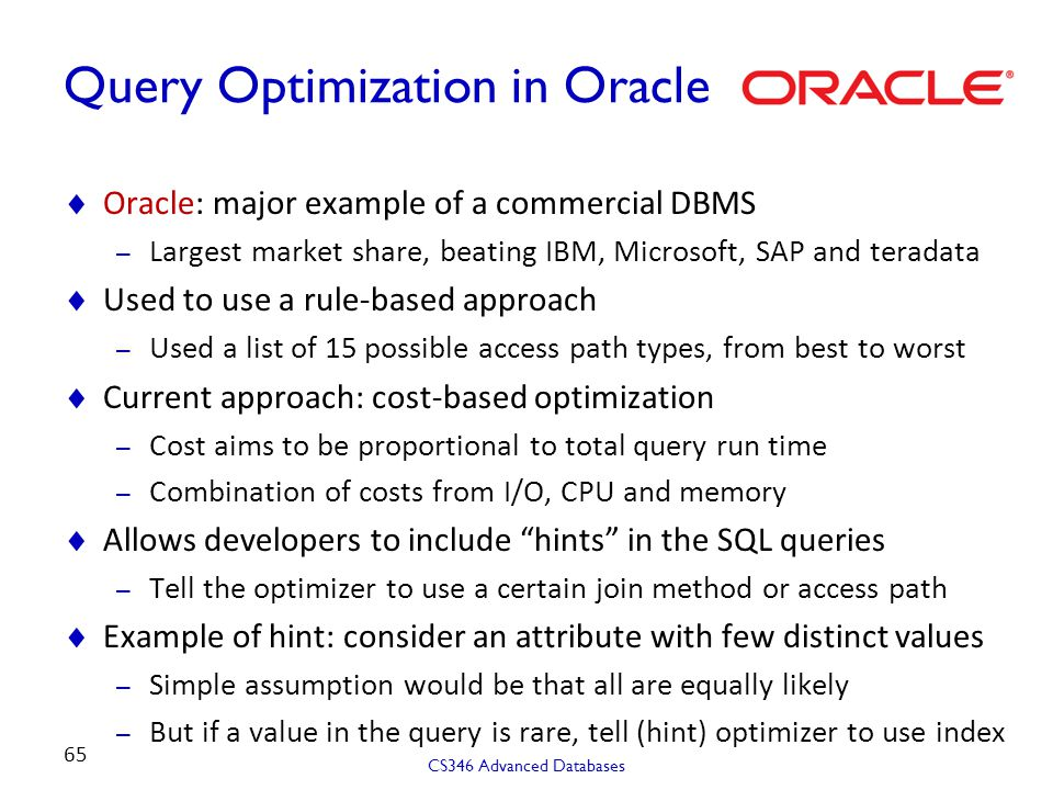 Query Optimization in Oracle