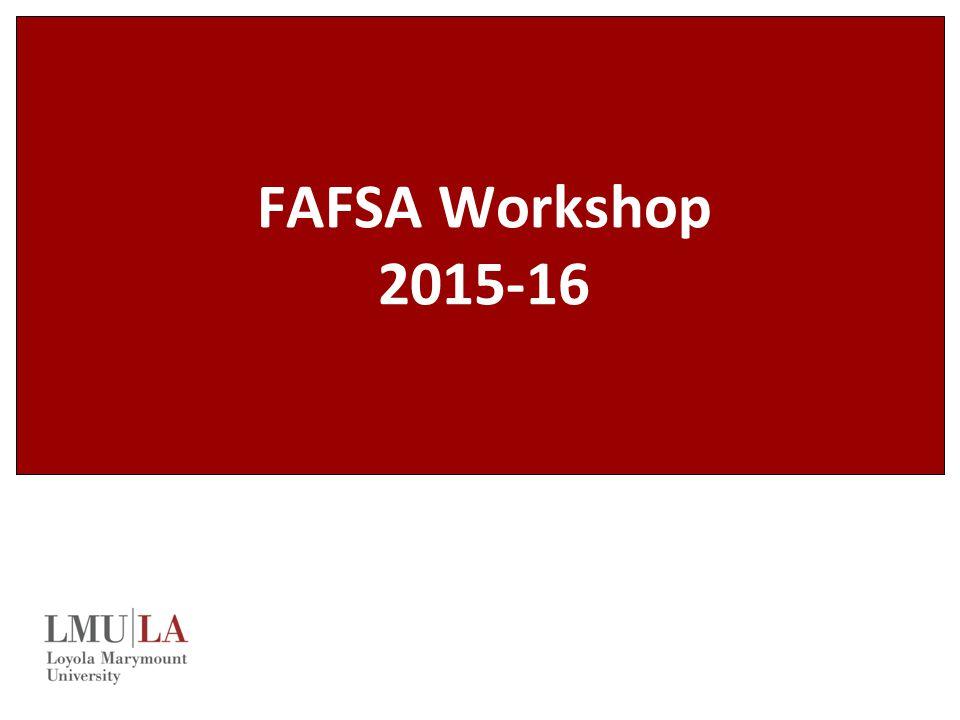 FAFSA Workshop 2015-16