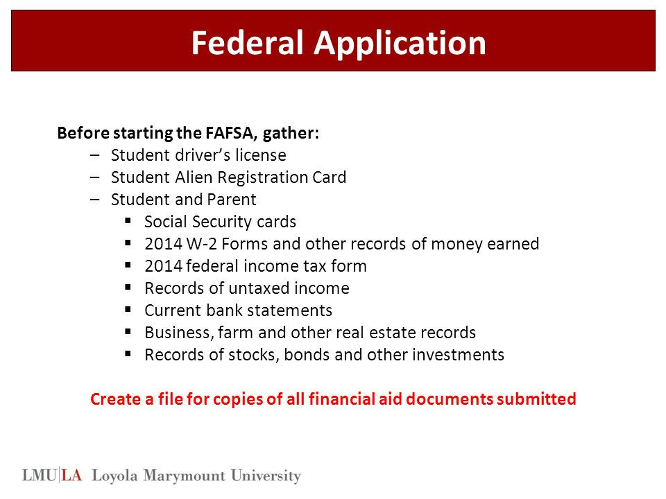 Create a file for copies of all financial aid documents submitted