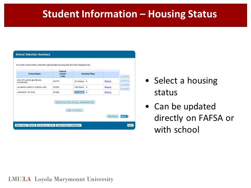 Student Information – Housing Status