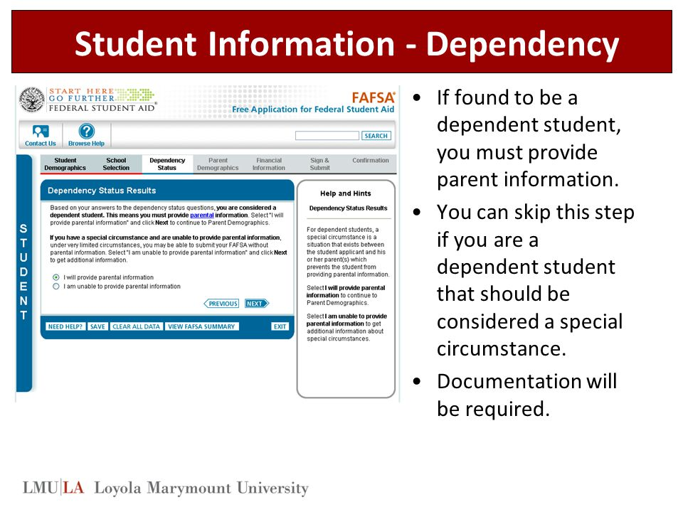 Student Information - Dependency