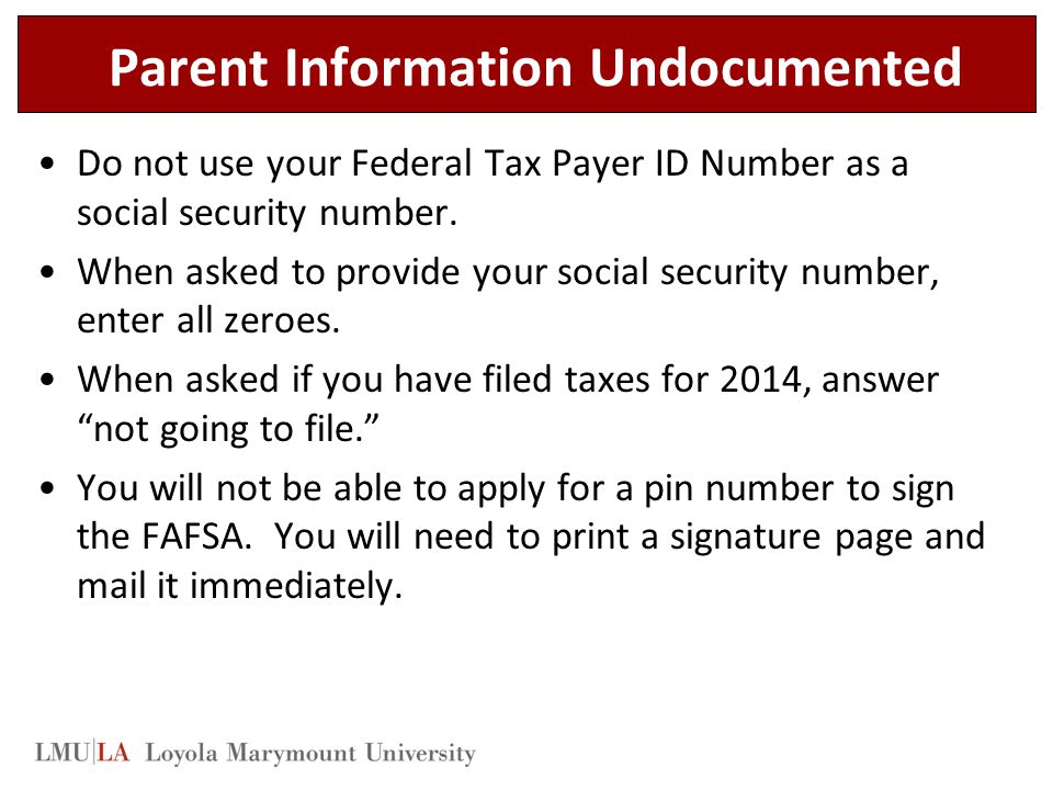 Parent Information Undocumented