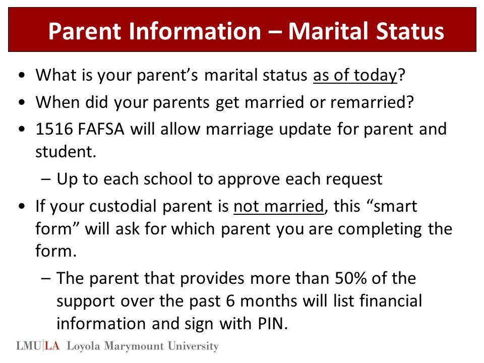 Parent Information – Marital Status