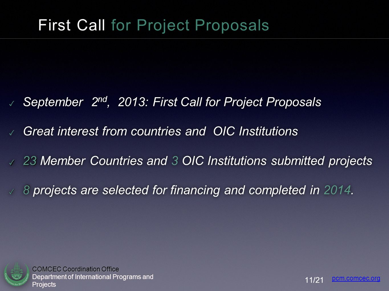 First Call for Project Proposals