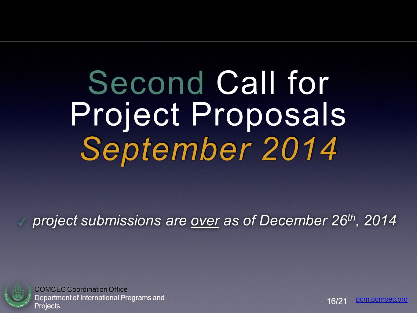 Second Call for Project Proposals