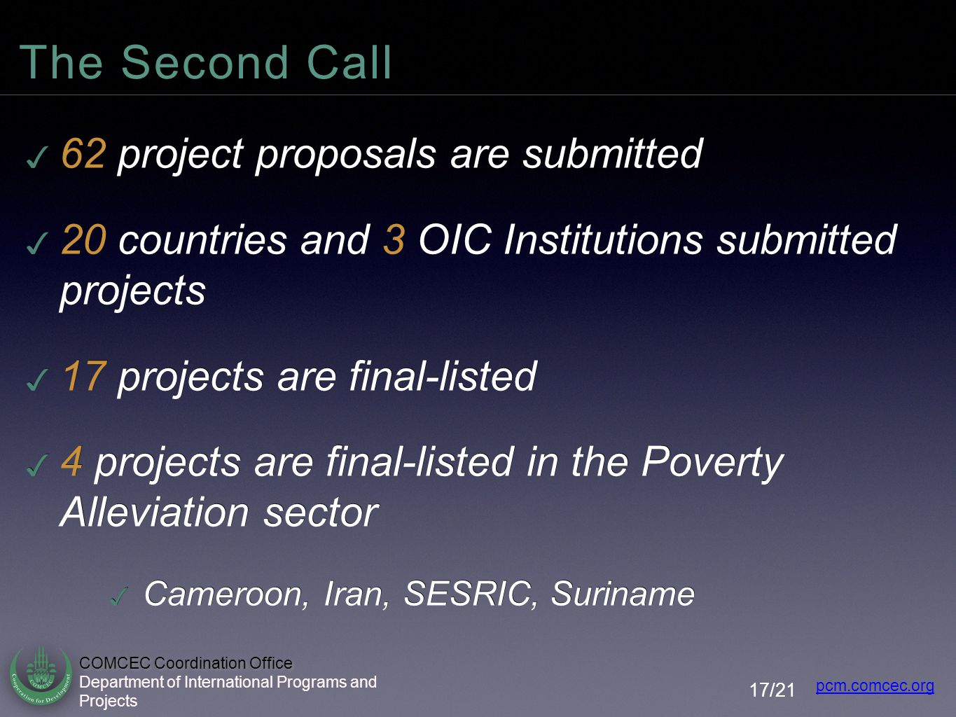 The Second Call 62 project proposals are submitted