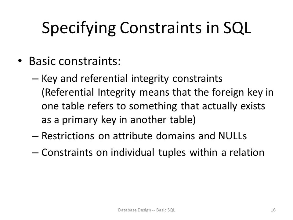 Specifying Constraints in SQL