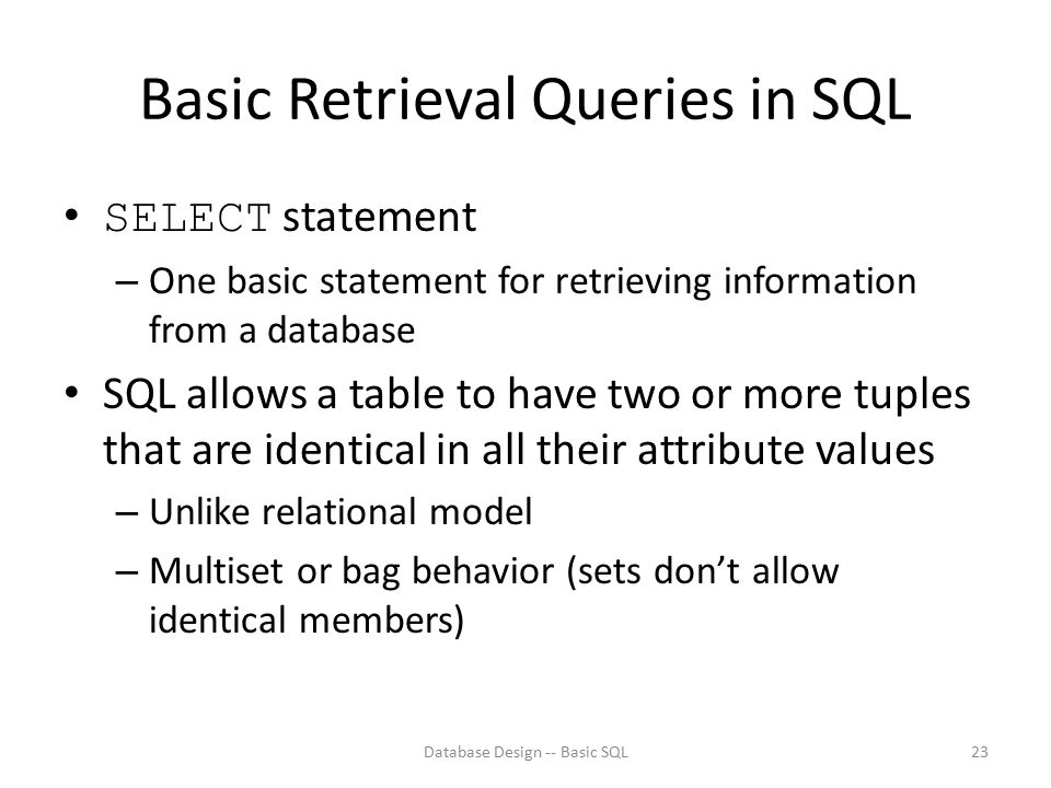 Basic Retrieval Queries in SQL