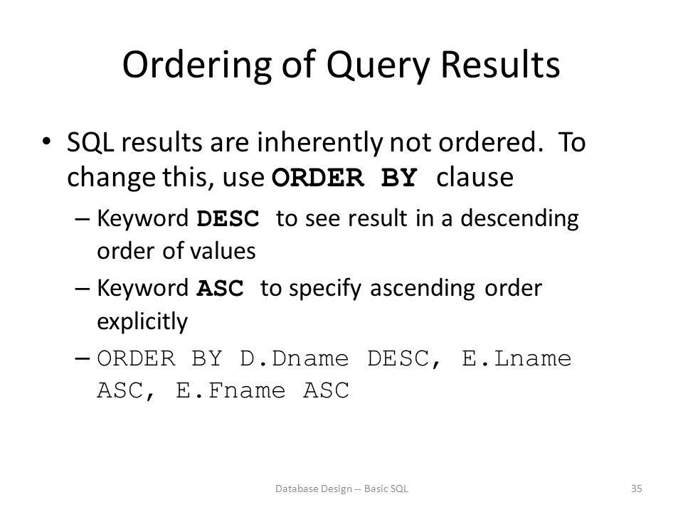Ordering of Query Results