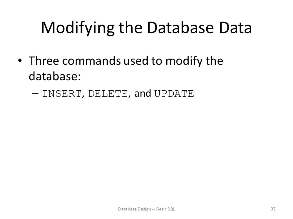 Modifying the Database Data