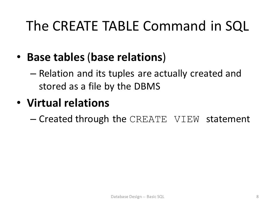 The CREATE TABLE Command in SQL
