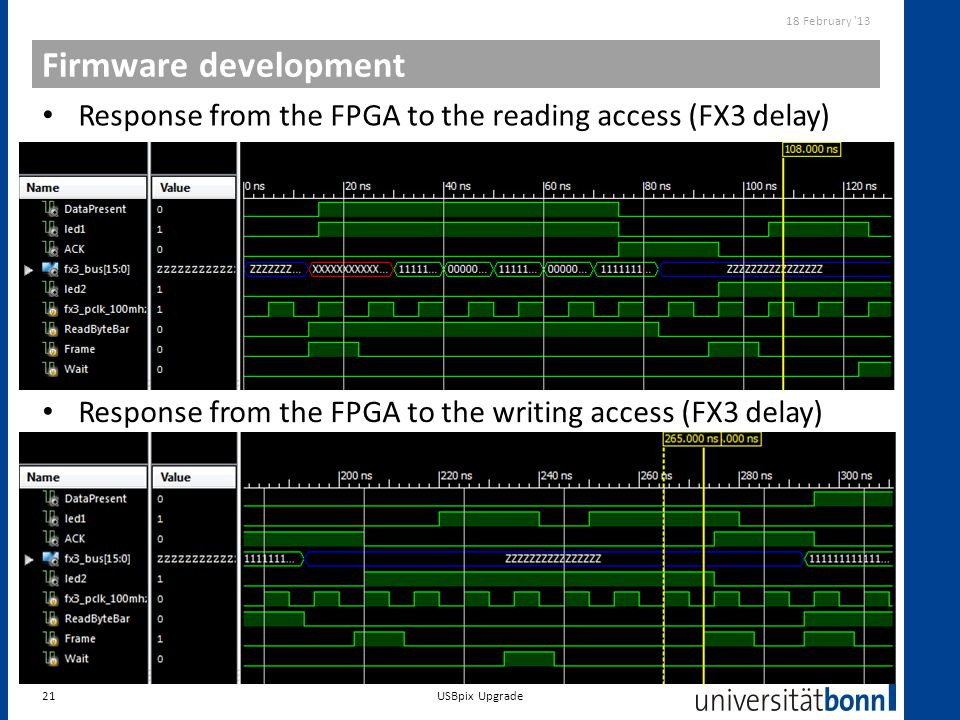 18 February 13 Firmware development. Response from the FPGA to the reading access (FX3 delay)