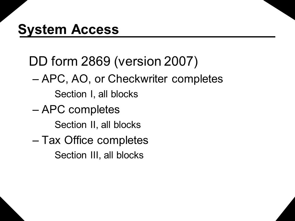 System Access DD form 2869 (version 2007)