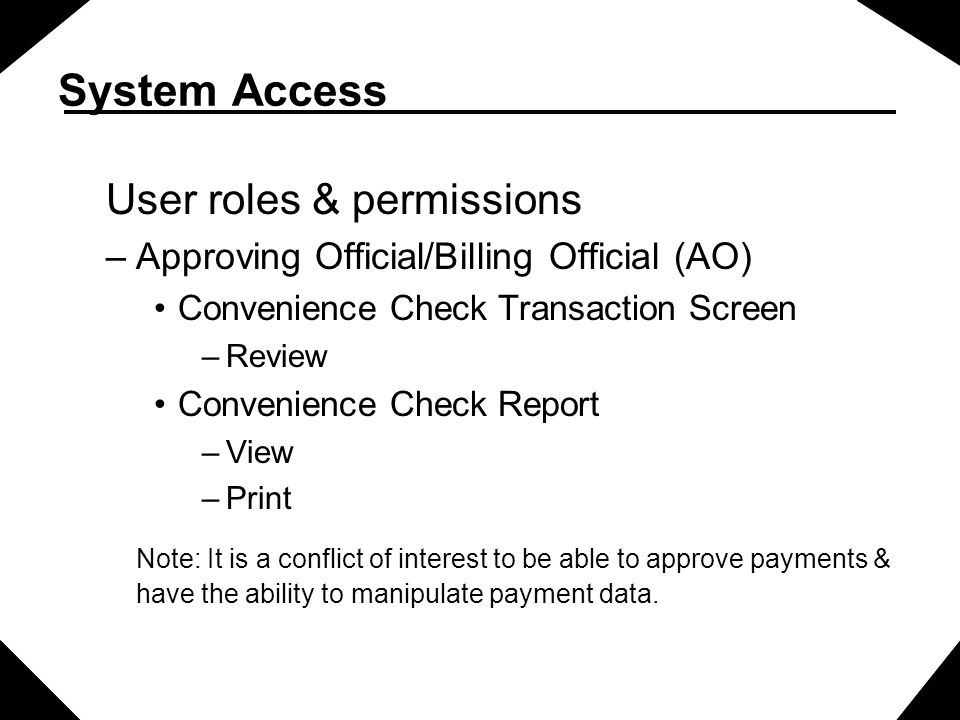 System Access User roles & permissions