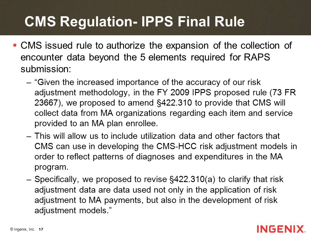 CMS Regulation- IPPS Final Rule