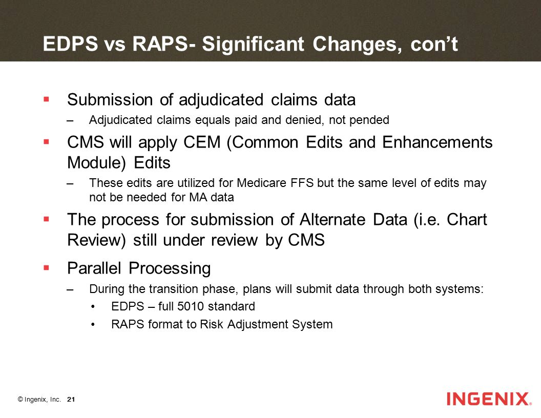 EDPS vs RAPS- Significant Changes, con't