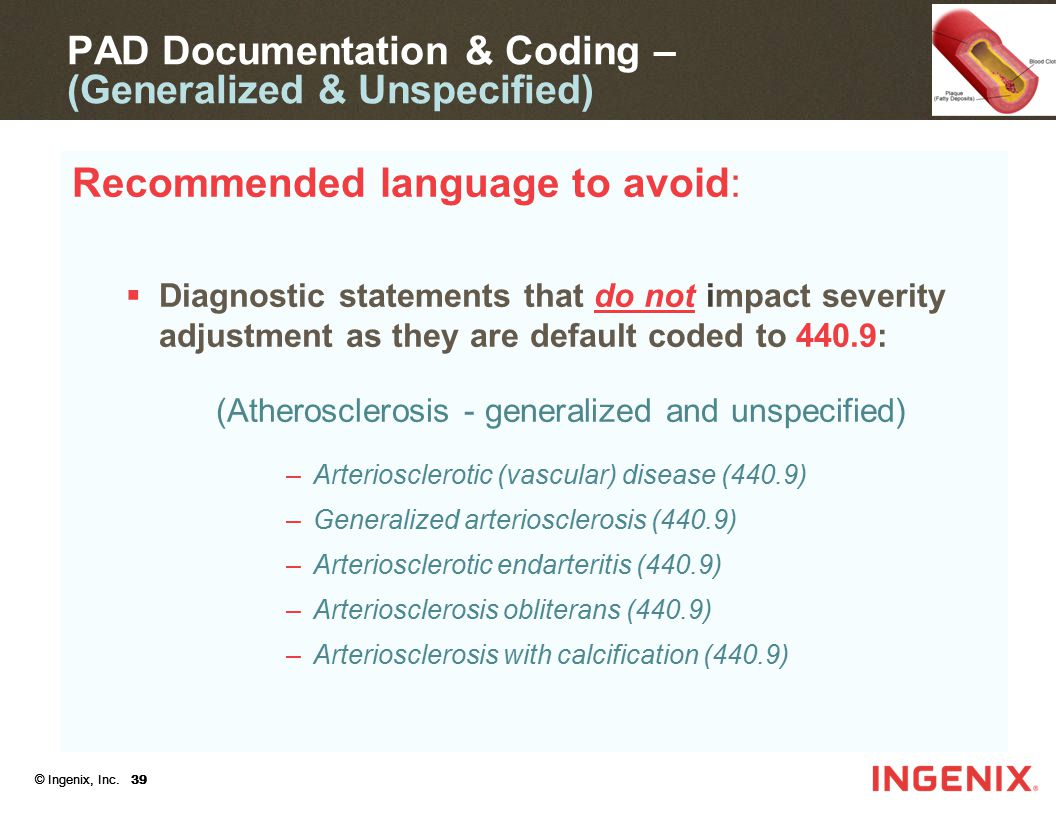 PAD Documentation & Coding – (Generalized & Unspecified)