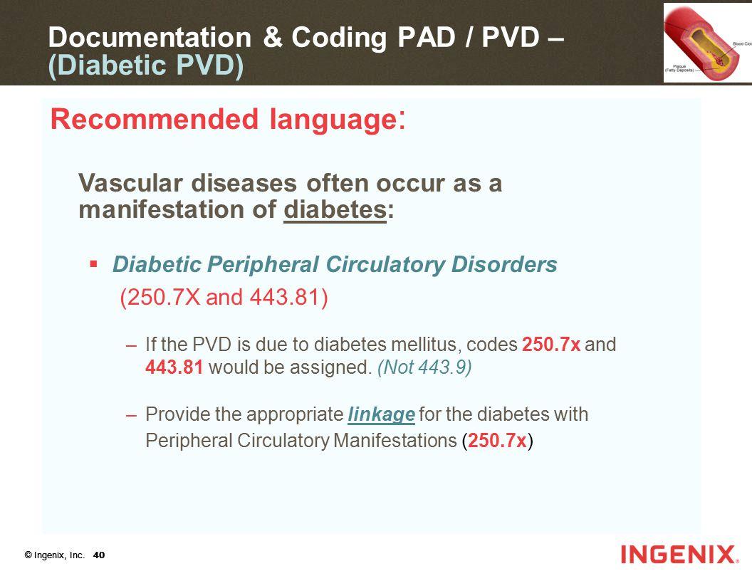 Documentation & Coding PAD / PVD – (Diabetic PVD)