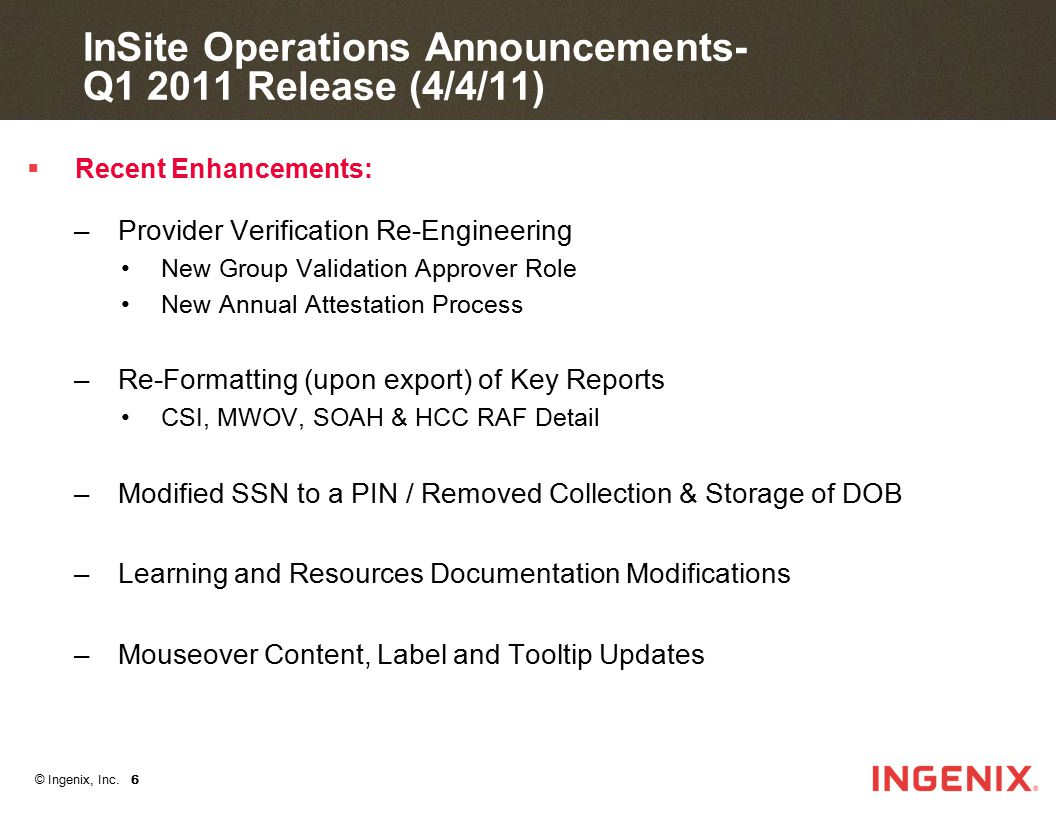InSite Operations Announcements- Q1 2011 Release (4/4/11)