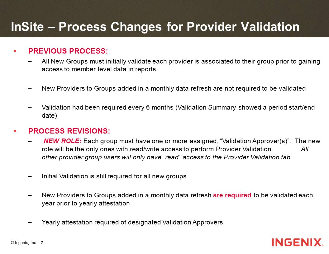 InSite – Process Changes for Provider Validation