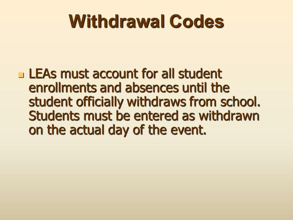 Withdrawal Codes